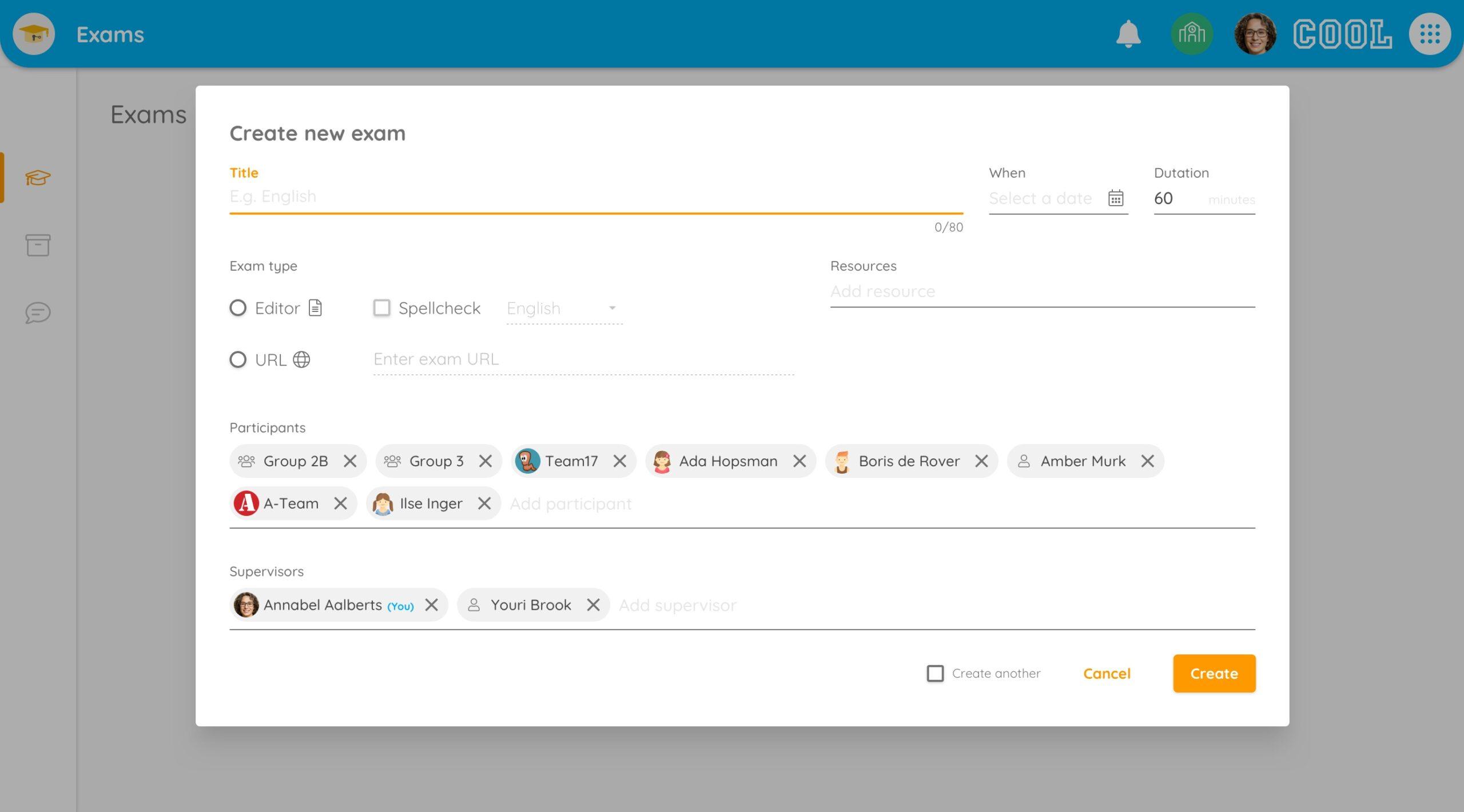 exam app create new exam teacher view