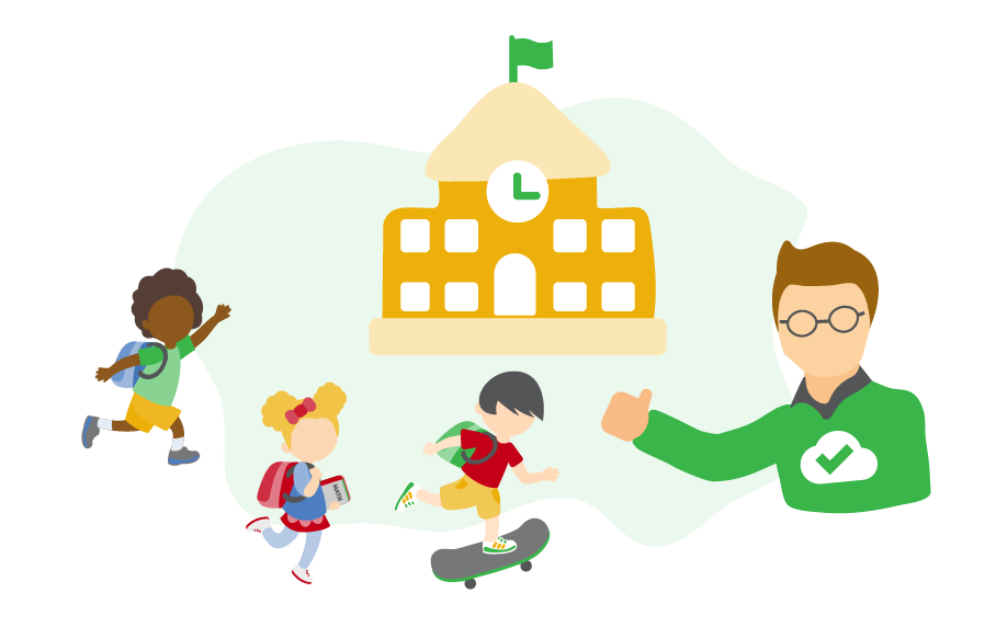 illustration of children and an IT admin raising his thumb in front of a school building